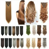 "Real Thick Clip In Hair Extensions 22"" Full Head Hair Extentions Human Made"