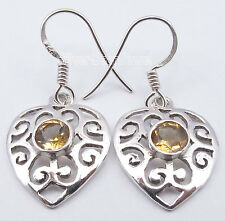 "Well Made Celtic Heart Earrings 1.3"" 925 Sterling Silver Yellow Citrine Gem"