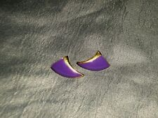 """Purple 3/4"""" in Length x 1/2"""" Wide Women's Pierced Earrings Gold Tone Metal With"""