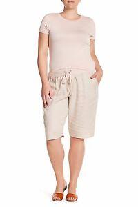 ALLEN ALLEN Linen Bermuda Shorts Size - 1X - Sand Beige