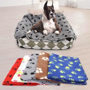 Fleece Paw Print Pet Puppy Dog Cat Mats Dog Blanket Sleeping Bed Sofa Cover
