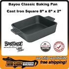 """Square Cast Iron Baking Pan 8"""" x 8"""" x 2"""" Great for Roasting or Baking Bayou 7472"""
