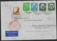 1937 Zeppelin Europe-South America flight cover with red cachet etc TS194