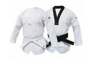 Adidas WT Club Taekwondo Suit Adults Kids Dobok Uniform White Black Collar WTF