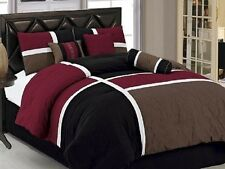 New 7-Piece King Size Quilted Bed In A Bag Comforter Set Bedding Red Black Brown