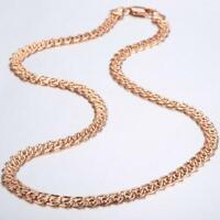 Damen Herren Halskette 7 mm 750er Rosegold 18 Karat vergoldet Collier K3249L