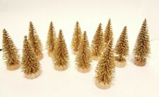 Lot 12 Mini Glittery Gold Miniature Sisal Bottle Brush Trees Doll House