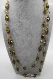 """46"""" Long Pearl & Crystal Necklace Olive Green Convertible Wearing Options"""
