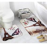 2Pcs/Set Paris Eiffel Tower Bathroom Pedestal Rug + Bath Non-Slip Mat Polyester