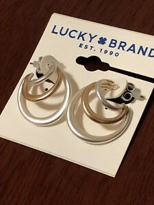 lucky brand two tone layered hoop earrings butterfly fastening new with tags