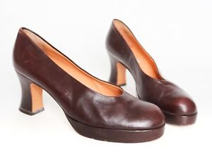 Vintage Platform Shoes - Brown Leather - 1940s style - Fit UK 5.5 / 6 Narrow