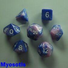 Bescon mini miniature Poly 7 DICE RPG Set Gemini deux tons MYOSOTIS Bleu Rose d&d