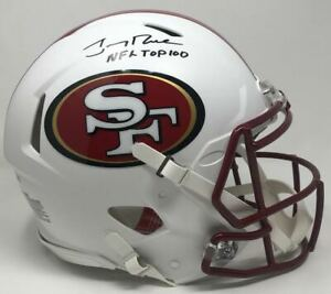 """JERRY RICE Autographed """"NFL Top 100"""" White Matte Authentic Helmet FANATICS LE 5"""