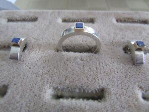 M. ZAREMSKI MODERNIST 14K GOLD & 925 SILVER RING/EARRINGS W/LAPIS STONE 8.5grams