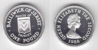 JERSEY - SILVER 1 POUND PROOF COIN 1988 YEAR KM#73a TRINITY