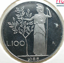 1988   Repubblica Italiana  100  lire  FONDO SPECCHIO  da divisionale