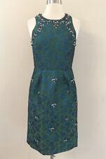 NEW JCREW COLLECTION JEWEL EMBELLISHED DRESS JADE GREEN BLUE SOLDOUT RARE! Sz 0