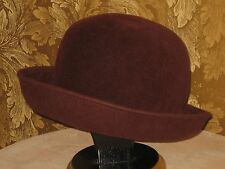 Women 100% Wool Felt Hat - ERIC JAVITS - Wine Burgundy - Fedora Bowler Derby USA