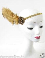 Bronce Oro AVESTRUZ Pluma Sombrero Flapper DÉCADA 1920 Gatsby Clásico Diadema