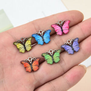 10pc Multi-color Enamel Cute Butterfly Charms Alloy Animals Pendant DIY Necklace