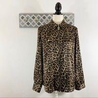 Michael Kors Leopard Blouse Satin Zip Front, S