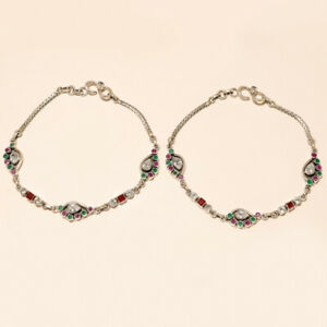 Real Emerald Ruby White Topaz Anklet 925 Sterling Silver Handmade Fine Jewelry