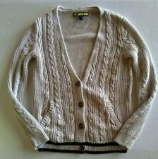 Prince Fox cardigan sweater XS oatmeal navy pocket collegiate preppy cable knit