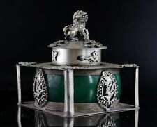 Collect Old Tibet Silver Inlay Agate Carve Lion & Dragon & Phenix Noble Censer