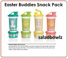 TUPPERWARE EASTER BUDDIES SNACK PACK Set 4 Tumblers Flip Top Spouts & Snack Cups