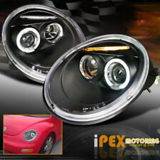 VOLKSWAGEN 1998-2005 VW Beetle Halo LED Projector Black Headlight GL/GLS/GLX/TDI