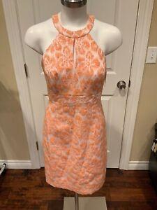 Trina Turk Orange/Weiß Ring Hals Schlüsselloch Kleid, Größe 2, Nwt