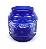 Vintage Cobalt Blue Bohemian Art Glass Cut To Clear Crystal Bowl Vase