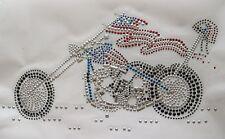 "10"" Motorcycle Rhinestone Iron On,Hot Fix Transfer Motif Patch"