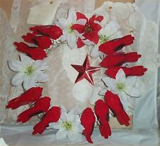 "Christmas Wreath Cardinals Birds Pointsettias Star 12"" Holiday Decor Door Wall d"