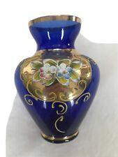 Cobalt Blue Floral Glass Vase