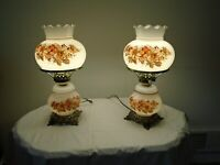 "Vintage Lamps Pair of ""Gone With The Wind"" Hurricane Lamps,Globe."