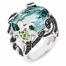 Cheryl M Sterling Silver Cubic Zirconia Blue Topaz Turtle Ring Size 7 #1127
