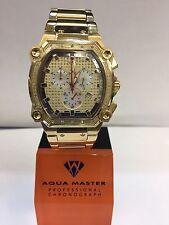 Men Aqua Master Jojo Jojino Joe Rodeo Yellow Metal Band 40mm Diamond Watch W#143