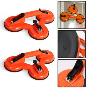 2x Heavy Duty Dual Double Rubber Suction Cup Glass Lifting Handle Lifter Tool UK