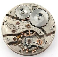 1907 WALTHAM P S BARTLETT 16S 17J POCKET WATCH MOVEMENT & DIAL. ONLY 44,200 MADE
