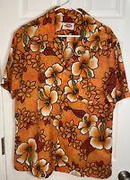 Vintage Pomare Hawaii Hawaiian Aloha Button Camp Shirt Purple Floral Aloha XL