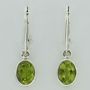 Genuine, Natural, Green Oval PERIDOT Earrings 925 STERLING SILVER Leverback #9