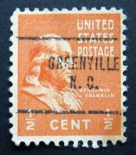 Sc # 803 ~ Used ~ 1/2 ct Benjamin Franklin ~ Greenville, N.C. ~ Precancel