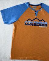 Columbia Men's Short Sleeve 2 Button T Shirt Size Medium Regular Fit Orange Blue