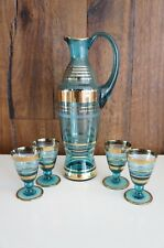 Vtg Mid Century Modern Czech Bohemian Glass Turquoise Blue Gold Decanter Set