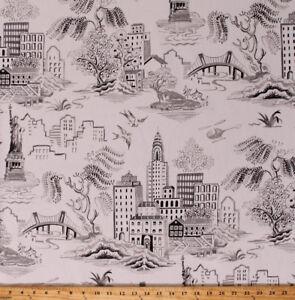 Canvas New York City Landmarks Statue of Liberty Cream Home Decor Fabric D795.32