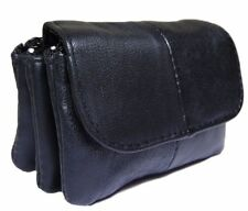 Womens Ladies Leather Black Coin Wallet Change Purse Zipper Three Pocket Black