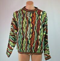 VTG 90s COOGI Australia Cosby BIGGIE Chunky sweater Classic Linen Blend Sz L