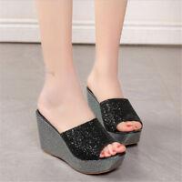 Women's Bling Leather Sandals Lady Platform Wedge Heels Peep Toe Slippers Shoes