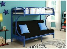 Student Loft Bed Frame Bunk Beds for Kids Teens Boys Twin Over Full Futon Blue